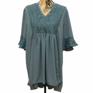 Jodifel Periwinkle Boho Lace Detailed Tunic Top L